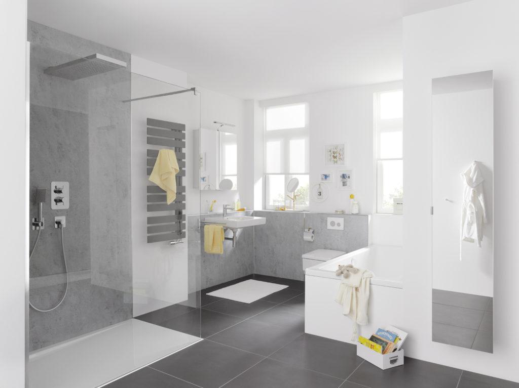 Badezimmer in Sichtbeton Lichtgrau